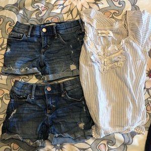 2 Abercrombie Kids 7/8 jean shorts & size S shirt